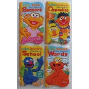Sesame Street Shaped First Board Books. (Zoes First Book of Seasons) (Bert & Ernies First Book of Opposites) (Grovers First Day At School) (Murrays First Book of Words). Each Book Individually Heat Sealed in Copyrighted Labeled Sleeve.