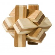 Joc logic IQ din lemn bambus Knot cutie metal