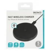 Deltaco Trådlös Snabbladdare för iPhone / Android, 10W - Svart