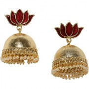 Rubans Gold Toned Enamel Handpainted Lotus Jhumka Earrings