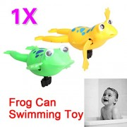 Sunsoar Swimming Frog Battery Operated Pool Bath Cute Toy Wind-Up Swim Frogs Kids Toy Birthday Chriamas New Year Gift Toy Car Truck Puzzle Education Learning
