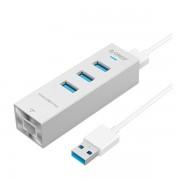 Orico Silver Aluminium ASH3L-U3 3 Port USB3 Hub & RJ45 Gigabit Ethernet Adapter