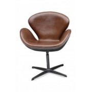Replica Swan Chair - 100% Vintage Premium Italian Leather - Brown Vintage Leather with Aluminium Back
