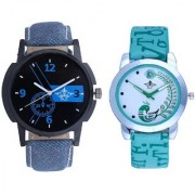 Blue Denim Tri With Lite Green Peacock Feathers Couple Casual Analogue SCK Wrist Watch