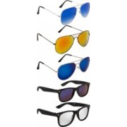 NuVew Aviator, Wayfarer Sunglasses(Blue, Blue, Golden, Blue, Silver, Violet)