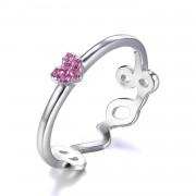 Inel Love you in my heart Pink marimea 6
