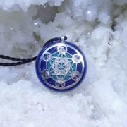 Arhanghelul Metatron pandantiv fenacit, diamant Herkimer, lepidolit, azurit, lapis lazuli, crisocola, celestit, Cubul lui Metatron