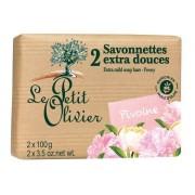 Le Petit Olivier 2 Savonnettes Extra Douces Pivoine