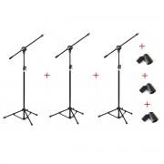 Kit com 03 Pedestais com Cachimbos para 01 Microfone - Vector
