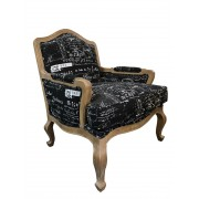 Premium French Provincial Accent Armchair - Natural Linen in Black colour with White Writing - White washed Oak Legs