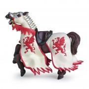 Papo Figurina Calul regelui cu blazon dragon (rosu)