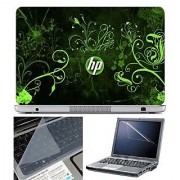 FineArts Laptop Skin HP Green Wallpaper With Screen Guard and Key Protector - Size 15.6 inch