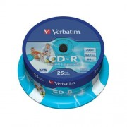 Média CD-R Verbatim 700MB/80min, 52x, Printable, Cake, 25ks