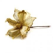 Decoratiune pentru craciun floare aurie cu sclipici