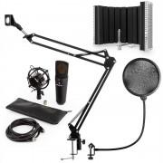 Auna MIC-920B, USB микрофонен комплект V5, кондензаторен микрофон, микрофонена дръжка, параван, черен (60001980-V5)