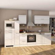 Küche mit E-Geräten Weiß Hochglanz (14-teilig)