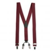 Bretele bărbătești clasice 8697 în culoarea claret-vinului roșu