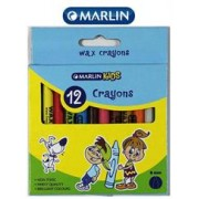 Marlin Kids 12 Wax Crayons 8mm-Single pack,