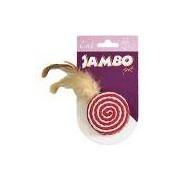 Brinquedo Palha Enrolada com Penas para Gatos Palha e Catnip - Jambo Pet Vermelho/Branco
