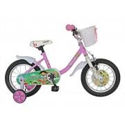 Bicicleta copii 14 Velors V1402B cadru otel roz alb si roti ajutatoare