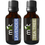 MNT Combo Set of lavender Oil and Tea Tree Essential Oil (Each 15ML) Ideal for use in Hair loss Treatment Promotes Hair Growth Moisturizes Skin Health Benefit Massage