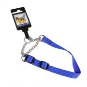 Hundhalsband stryp, justerbart av nylon, blått, 15mm x 30-45cm