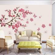 Zjxxm Papel tapiz estéreo 3D Pintado a mano Simple árbol Resumen Corteza Rama Color Ciruela Mariposa Dormitorio Fondo de TV Papel tapiz moderno 3D-300cmx210cm