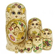 "7.8"" Set of 7pc Traditional Classic Hand Painted Wooden Wood Matryoshka Babushka Russian Nesting Nested Stacking Wishing Doll Toy Gift - Yellow Gold Bird Pattern"