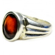 YogiGems 3.25 Ratti Certified Natural Gomed Hessonite Mark Sterling Silver Ring