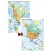America de Nord. Harta fizico-geografica si a principalelor resurse naturale de subsol si America de Nord. Harta politica