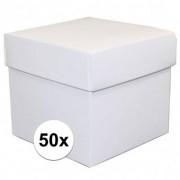 Geen 50x stuks Witte cadeaudoosjes van 10 cm vierkant