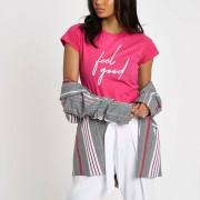 River Island Womens Pink 'feel good' print fitted T-shirt (Size 16)