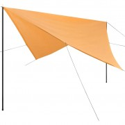 vidaXL Guarda-sol de lona com postes PEAD quadrado 4x4 m bege