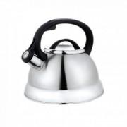 Свирещ чайник Kinghoff KH 3774, 2.2 литра, Инокс, Черна дръжка