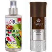 Yardley Arthur Body Spray for Men 150ml and Pink Root Vanity Femme Fragrance body Spray 200ml Pack of 2