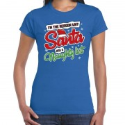 Bellatio Decorations Fout kerstshirt blauw why Santa has a naughty list voor dames