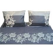 DaDa Bedding Collection DaDa Juego de sábanas Planas, diseño Floral a Rayas con Fundas de Almohada, 2 Piezas, Color Azul Real