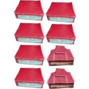 Atorakushon Unic new and modern stylish dresses covers Saree wardrobe orgniser, cover / Wedding Gift, Regular Clothes Bag, Vanity pouch Pack of 8(Pink)