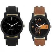 New Lorem Combo Broun And Black Leather Belt Latest Designing Stylist Analog Watch For Men Boys