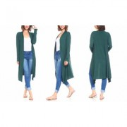 Women's Isaac Liev Women's Extra Long Cardigan Duster S-3X 2X-Large Hunter Green