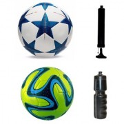 Kit of Bluestar UEFA Champions League Football + Green Brazuca Football (Size-5) - Pack of 2 Balls with Air Pump & Sipper