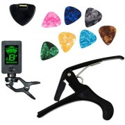 Futaba Guitar 4 in 1 Guitar Tuner + Capo + Pick Holder + 7 Picks
