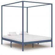 vidaXL Рамка за легло с балдахин, сива, бор масив, 180х200 см
