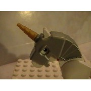 Lego Castle Horse Silver Battle Helmet Shield with Gold Horn Animal Minifigure Accessory