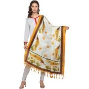 Meia Cream and Yellow Colored Animal Printed Bhagalpuri Silk Dupatta