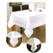 Asztalterítő fehér 140x180 cm görögös minta (190)