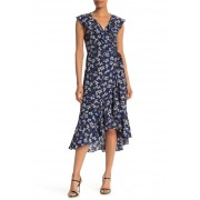 Max Studio Patterned Ruffle Wrap Midi Dress NAVYCORAL FLORAL BERRY