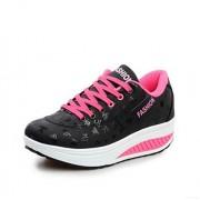 duduxiaomaibu Zapatillas de Tenis para Mujer con Plataforma y cuñas, cómodas y Ligeras, de tacón Alto, Negro, 5.5 Narrow