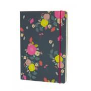 LONDON STATIONERY Krásný zápisník A5 s květinkovým potiskem