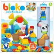 Set de construit BLOKO Tepi 52 piese cu trei figurine cal vacuta si omulet STEM Education